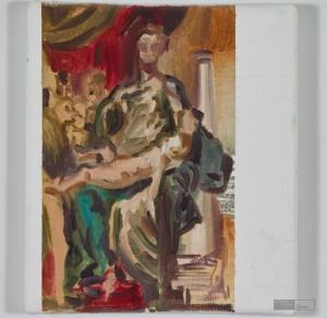"""Toscanelli nach Parmigianino, """"Madonna mit dem langen Hals"""", 25 x 22 cm, Acryl auf Leinwand, 2014. © Courtesy Galerie Till Breckner, Düsseldorf, Foto: Ivo Faber"""