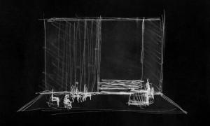 Der Sandmann — Zeichnung des Bühnenbilds