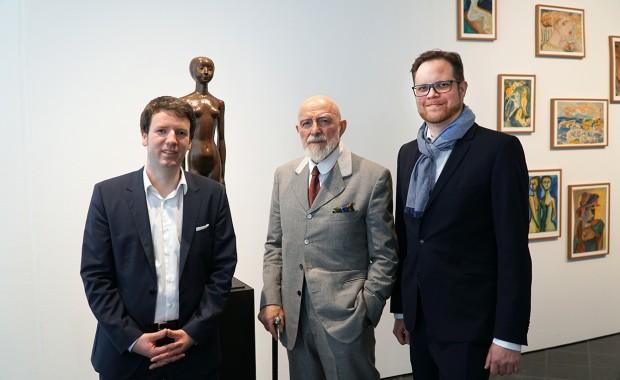 Jörg-Philipp Thomsa (Direktor Günter Grass-Haus, Lübeck), Prof. Markus Lüpertz und Till Breckner (v. l. n. r.) © Foto: Kaspar Achenbach
