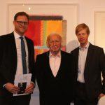 Foto (v.l.n.r.): Galerist Till Breckner, Prof. Heinz Mack, Prof. Dr. Robert Fleck