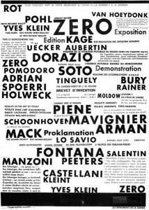 Plakat zur Ausstellung in der Galerie Schmela 1961. ZERO. Copyright Guggenheim. Foto Till Breckner.
