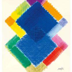 Heinz Mack: Stunde 6. 2015-2016. Druck mit 26 Sieben. 90,7 x 73,8 cm