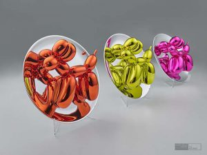 Jeff Koons Skulptur Balloon Dog in Orange, Yellow und Magenta