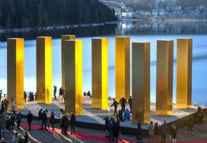 Heinz Mack, The Sky Over Nine Columns, St. Moritz, 2016/2017, Private Collection, Courtesy Beck & Eggeling, International Fine Art, Photo Giancarlo Cattaneo