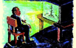 Jörg Immnedorff, Elbquelle, 1999, Lithografie, 65,5 x 50,5 cm © Jörg Immendorff Nachlass, Foto von Norbert Faehling