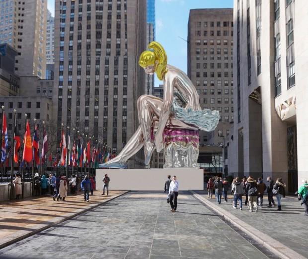 Jeff Koons, Seated Ballerina, 2017 (Rockefeller Plaza, New York) © Koons Studio and Art Production Fund