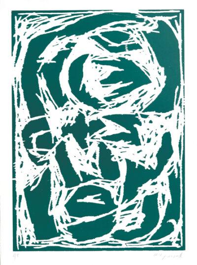 A. R. Penck Grafik Holzschnitt Kopf (grün) 1994
