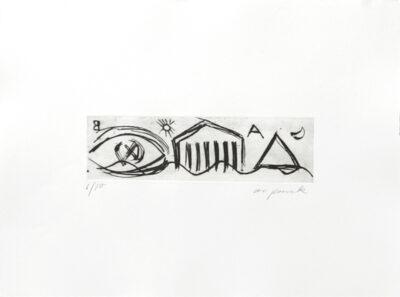 A. R. Penck Grafik Siebdruck Kleiner Tempel 1991