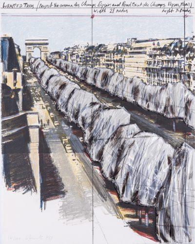Christo, Wrapped Trees, Project for the Avenue des Champes-Elysées, Paris, 1987