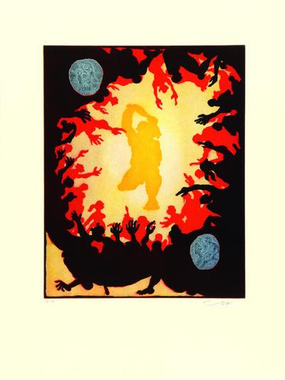 Jörg Immendorff, Ohne Titel, WVZ 2001.18. Radierung und Aquatinta auf Bütten, 75,5 x 56,5 cm, 95 Exemplare zzgl. e.a.