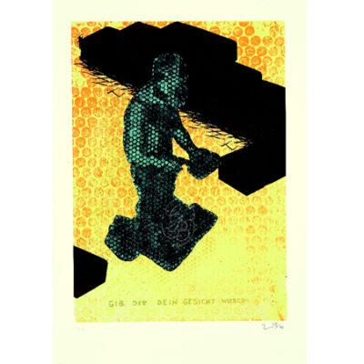 Jörg Immendorff, fifty fifty – Gib dir dein Gesicht wieder, 2005. Siebdruck auf Bütten, 100 x 70 cm, 200 Exemplare zzgl. e.a.