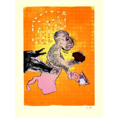 Jörg Immendorff, fifty fifty – Maureraffe, 2005. Siebdruck auf Bütten, 100 x 70 cm, 200 Exemplare zzgl. e.a.