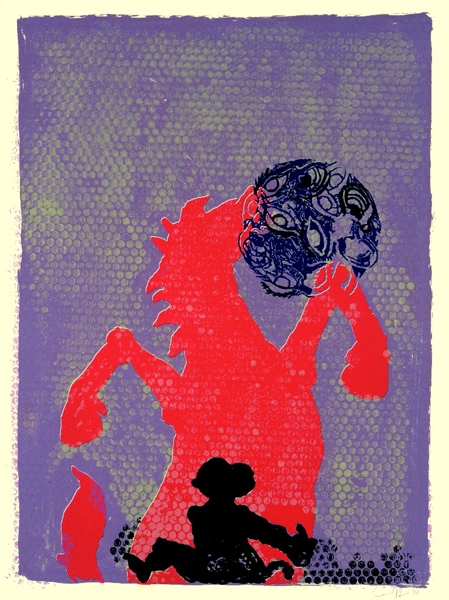 Jörg Immendorff, Ohne Titel (Pferd, Affe, Augenkugel), 2006. Siebdruck auf Bütten, 80 x 60 cm, 100 Exemplare zzgl. e.a.