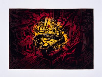 Jörg Immendorff, Ständchen für B. und D., 1990/2006. Linolschnitt auf Bütten, 70 x 82,5 cm, 60 Exemplare zzgl. e.a.