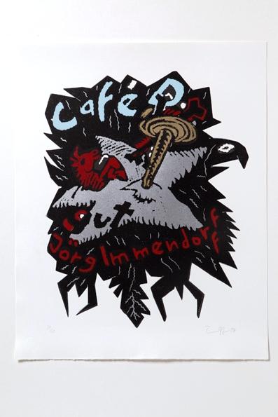 Jörg Immendorff, Café D. gut, 2007. Linolschnitt, 6 Farben, 66,5 x 53 cm, 60 Exemplare zzgl. e.a.