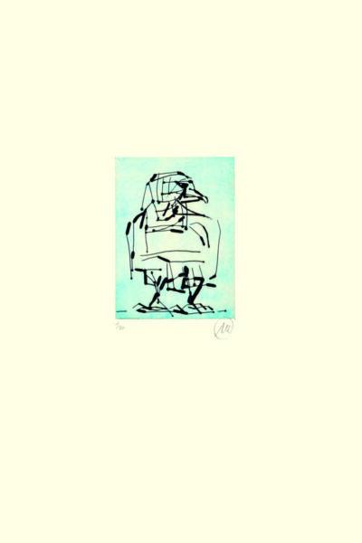 Markus Lüpertz, Adler (blau), 2009. Radierung auf Bütten, 48,3 x 38 cm, 20 arab. num., sign. Exemplare zzgl. e.a.