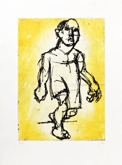 Markus Lüpertz, Hölderlin (Radierung 2, ocker), 2012. Radierung auf Bütten, 94 x 70 cm, 15 Exemplare zzgl. e.a.