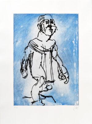 Markus Lüpertz, Hölderlin (Radierung 1, blau), 2012. Radierung auf Bütten, 94 x 70 cm, 15 Exemplare zzgl. e.a.