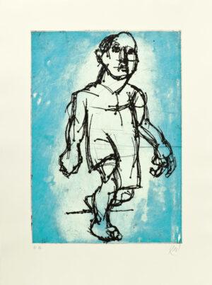 Markus Lüpertz, Hölderlin (Radierung 2, blau), 2012. Radierung auf Bütten, 94 x 70 cm, 15 Exemplare zzgl. e.a.