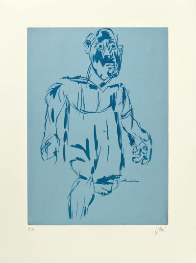 Markus Lüpertz, Hölderlin (Holzschnitt 1, dunkelblau-hellblau), 2012