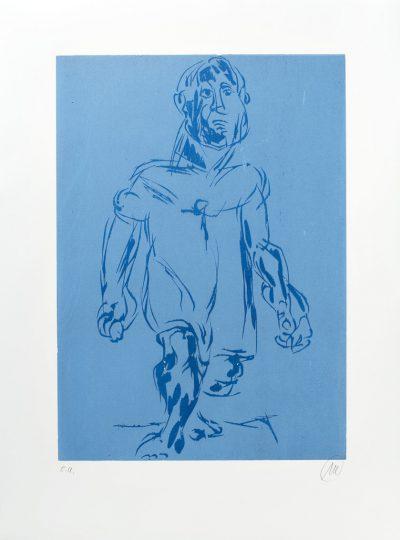 Markus Lüpertz, Hölderlin (Holzschnitt 2, dunkelblau-hellblau), 2012