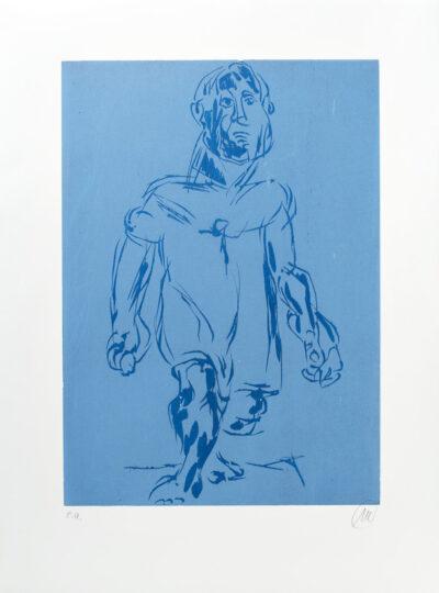 Markus Lüpertz, Hölderlin (Holzschnitt 2, dunkelblau-hellblau), 2012. Holzschnitt auf Bütten, 94 x 70 cm, 15 Exemplare zzgl. e.a.