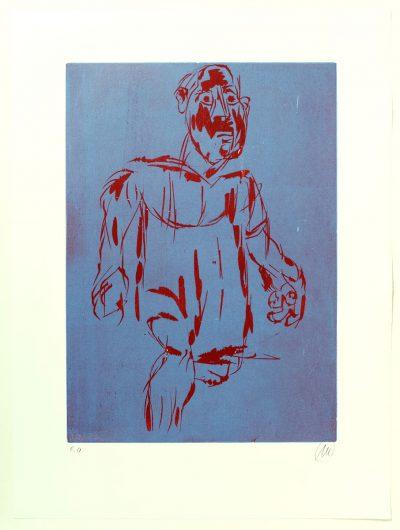 Markus Lüpertz, Hölderlin (Holzschnitt 1, rot-blau), 2012