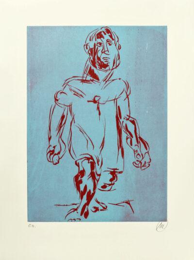 Markus Lüpertz, Hölderlin (Holzschnitt 2, rot-blau), 2012. Holzschnitt auf Bütten, 94 x 70 cm, 15 Exemplare zzgl. e.a.
