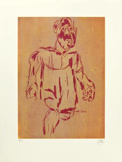 Markus Lüpertz, Hölderlin (Holzschnitt 1, rot-beige), 2012. Holzschnitt auf Bütten, 94 x 70 cm, 15 Exemplare zzgl. e.a.