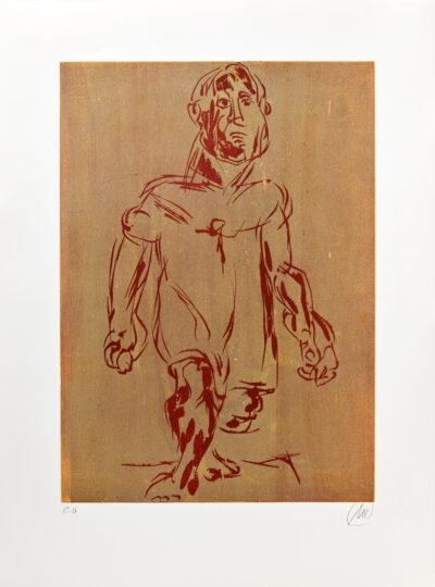 Markus Lüpertz, Hölderlin (Holzschnitt 2, rot-beige), 2012. Holzschnitt auf Bütten, 94 x 70 cm, 15 Exemplare zzgl. e.a.