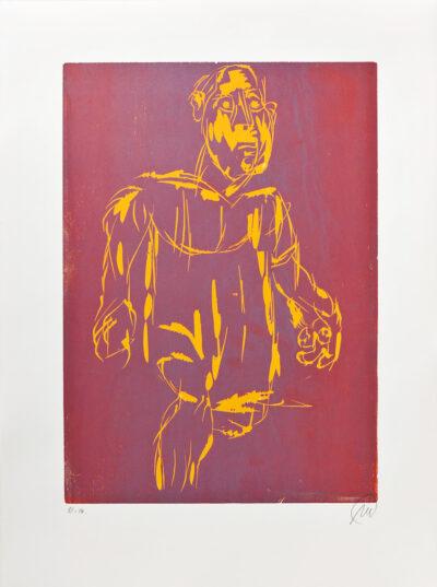 Markus Lüpertz, Hölderlin (Holzschnitt 1, orange-braun), 2012. Holzschnitt auf Bütten, 94 x 70 cm, 15 Exemplare zzgl. e.a.