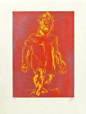 Markus Lüpertz, Hölderlin (Holzschnitt 2, orange-braun), 2012. Holzschnitt auf Bütten, 94 x 70 cm, 15 Exemplare zzgl. e.a.