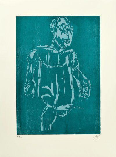 Markus Lüpertz, Hölderlin (Holzschnitt 1, hellblau-dunkelblau), 2012