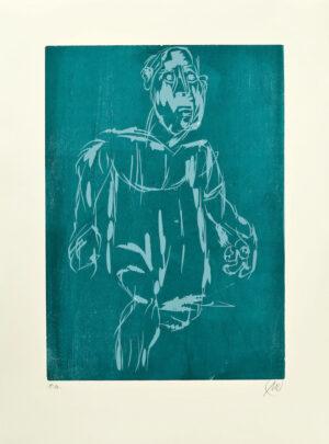 Markus Lüpertz, Hölderlin (Holzschnitt 1, hellblau-dunkelblau), 2012. Holzschnitt auf Bütten, 94 x 70 cm, 15 Exemplare zzgl. e.a.