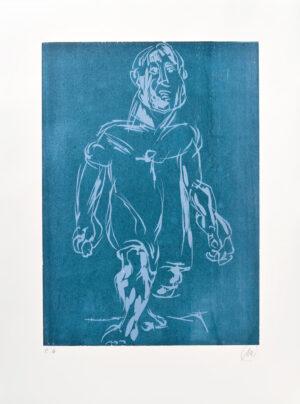 Markus Lüpertz, Hölderlin (Holzschnitt 2, hellblau-dunkelblau), 2012. Holzschnitt auf Bütten, 94 x 70 cm, 15 Exemplare zzgl. e.a.