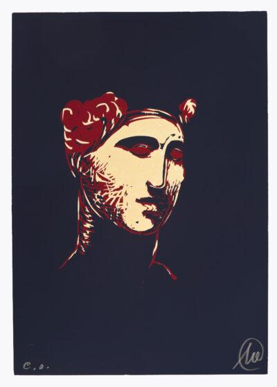Markus Lüpertz, Mykenisches Lächeln 7, Blau-rot-ocker, 1986/2013. Holzschnitt auf Bütten, 107 x 76,5 cm, 5 Exemplare zzgl. e.a.