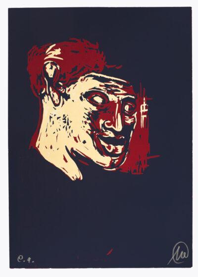 Markus Lüpertz, Mykenisches Lächeln 8, Blau-rot-ocker, 1986/2013. Holzschnitt auf Bütten, 107 x 76,5 cm, 5 Exemplare zzgl. e.a.