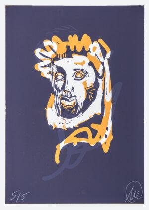 Markus Lüpertz, Mykenisches Lächeln 3, Ultramarin-apricosengelb, 1986/2013. Holzschnitt auf Bütten, 107 x 76,5 cm, 5 Exemplare zzgl. e.a.