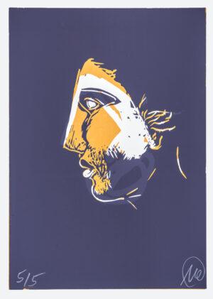 Markus Lüpertz, Mykenisches Lächeln 4, Ultramarin-apricosengelb, 1986/2013. Holzschnitt auf Bütten, 107 x 76,5 cm, 5 Exemplare zzgl. e.a.