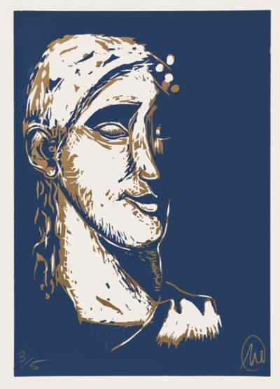 Markus Lüpertz, Mykenisches Lächeln 1, Ultramarin-gold, 1986/2013. Holzschnitt auf Bütten, 107 x 76,5 cm, 5 Exemplare zzgl. e.a.