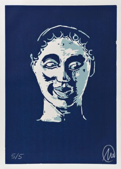 Markus Lüpertz, Mykenisches Lächeln 9, Ultracyan-ultracyan-hell, 1986/2013. Holzschnitt auf Bütten, 107 x 76,5 cm, 5 Exemplare zzgl. e.a.