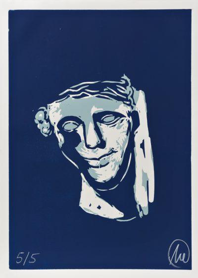 Markus Lüpertz, Mykenisches Lächeln 10, Ultracyan-ultracyan-hell, 1986/2013
