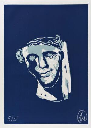 Markus Lüpertz, Mykenisches Lächeln 10, Ultracyan-ultracyan-hell, 1986/2013. Holzschnitt auf Bütten, 107 x 76,5 cm, 5 Exemplare zzgl. e.a.