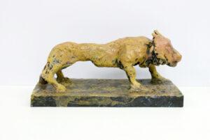 Markus Lüpertz, Löwe, Skulptur, 2014. Bronze, handbemalt, 18 x 16,5 x 37,5 cm, 45 Exemplare