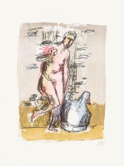 Markus Lüpertz, Frau mit Panir (Arkadien Zyklus), 2014. Farblithografie auf Bütten, 75,60 x 56 cm, 30 Exemplare