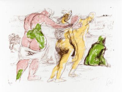 Markus Lüpertz, Arkadische Reiter (Arkadien Zyklus), 2014. Farblithografie auf Bütten, 61 x 81 cm, 20 Exemplare