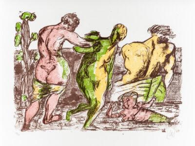 Markus Lüpertz, Der Besuch (Arkadien Zyklus), 2014. Farblithografie auf Bütten, 61 x 81 cm, 20 Exemplare
