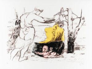 Markus Lüpertz, Schwarzes Boot (Arkadien Zyklus), 2014. Farblithografie auf Bütten, 61 x 81 cm, 20 Exemplare