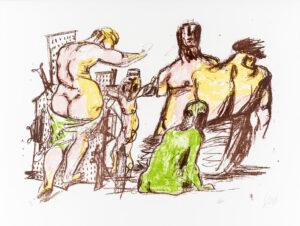 Markus Lüpertz, Kreuzigung (Arkadien Zyklus), 2014. Farblithografie auf Bütten, 61 x 81 cm, 20 Exemplare