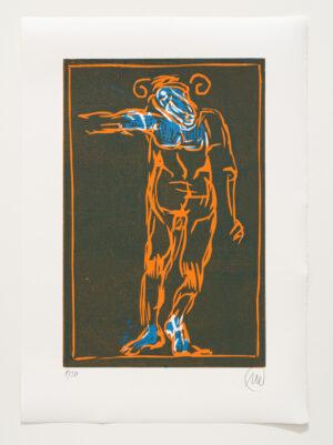 Markus Lüpertz, Sternzeichen – Widder, 2018. Holzschnitt auf Bütten, 76 x 54 cm, 30 arab. zzgl. 6 röm. Exemplare | Entdecken Sie die Tiekreiszeichen von Markus Lüpertz